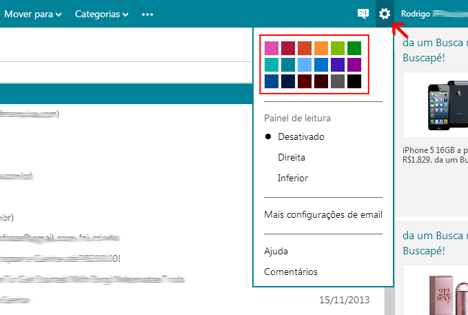 alterar esquema de cores outlook
