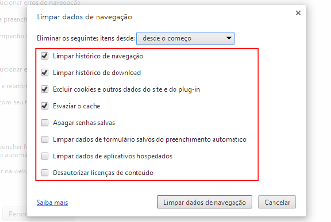 Apagar Historico Google Chrome